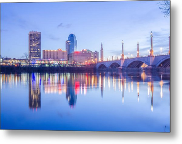 Metal Print featuring the photograph Springfield Massachusetts City Skyline Early Morning by Alex Grichenko