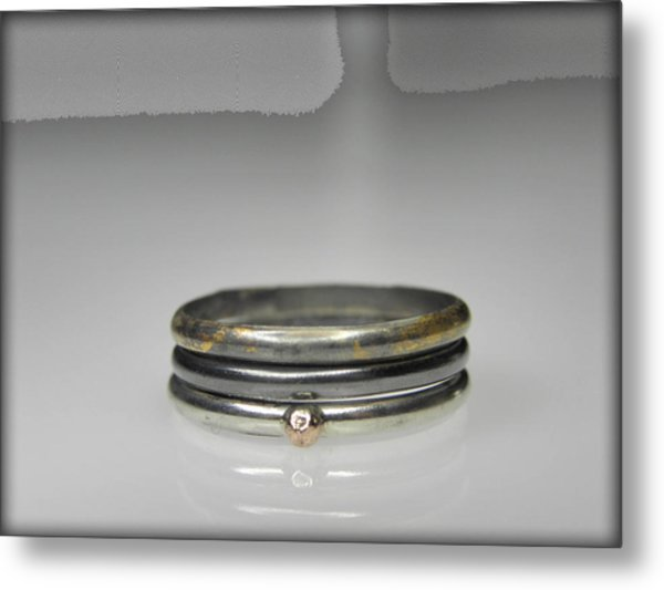 3 Stacking Silver Rings With 14k And 24k Gold Metal Print by Vesna Kolobaric