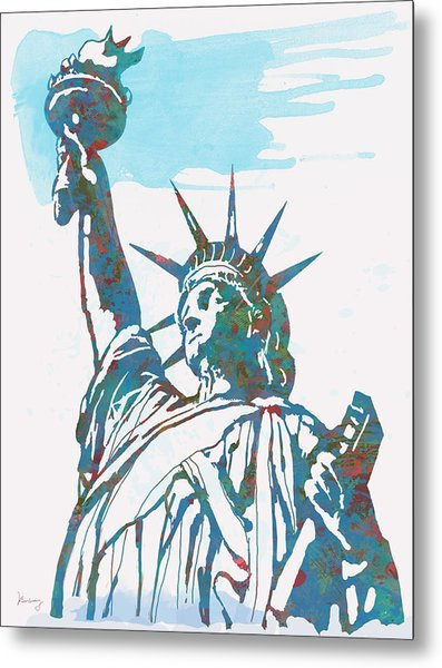 Statue Liberty - Pop Stylised Art Poster Metal Print by Kim Wang