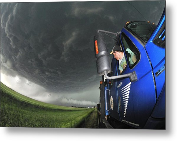 Storm Chasing, Nebraska, Usa Metal Print by Science Photo Library