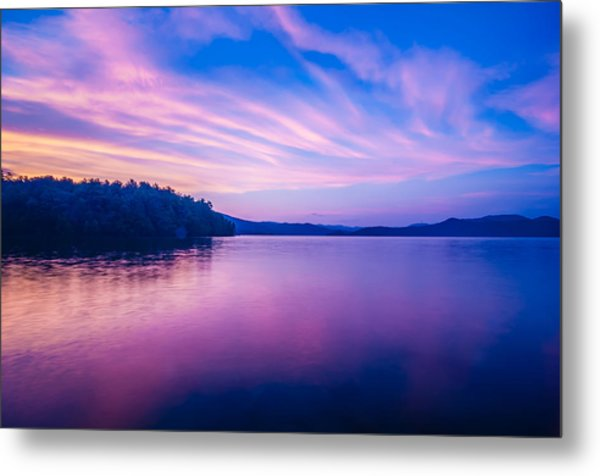 Metal Print featuring the photograph Sunset During Blue Hour At The Lake by Alex Grichenko