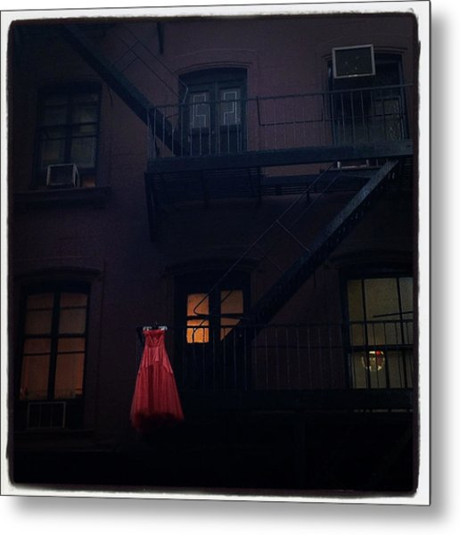 The Red Gown Metal Print