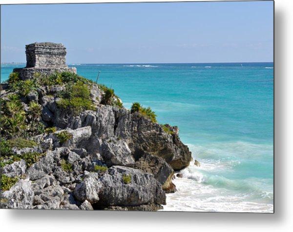 Tulum Mexico Coastal Mayan Ruin Metal Print