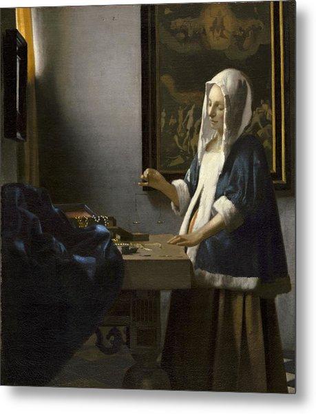 Woman Holding A Balance Metal Print
