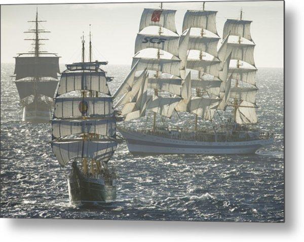 3 X Tall Ships Metal Print by Gilles Martin-Raget