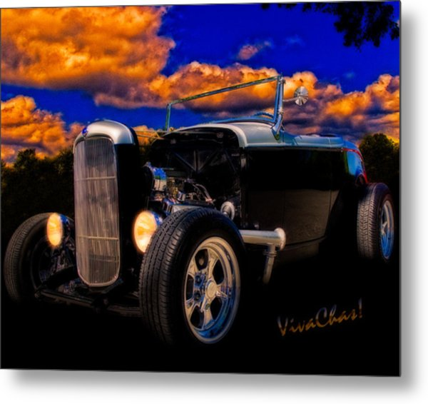 32 Ford Roadster In Silver An Black Metal Print