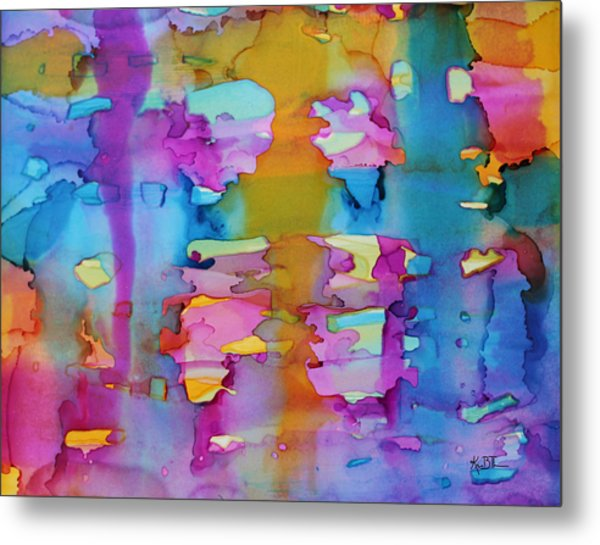 3colors Abstract Metal Print by Kim Thompson