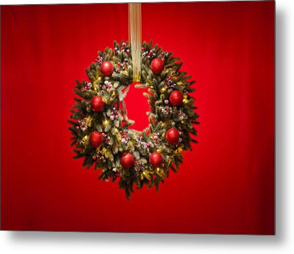 Advent Wreath Over Red Background Metal Print
