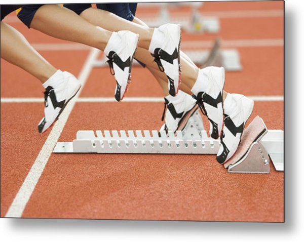 Athlete Leaving The Blocks Metal Print by Gustoimages/science Photo Library