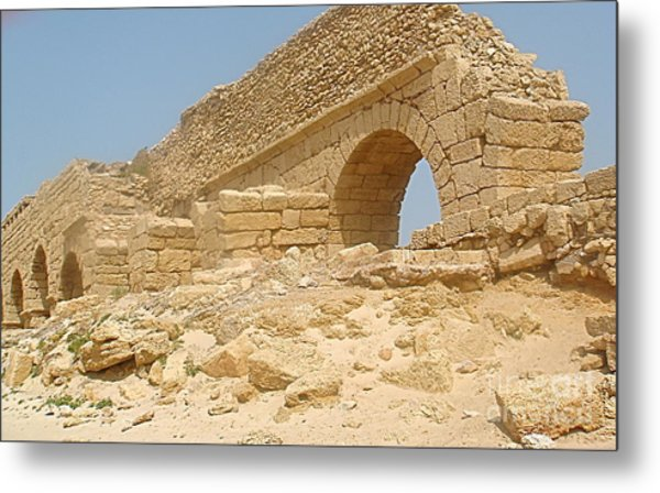 Caesarea Israel Ancient Roman Remains Metal Print by Robert Birkenes