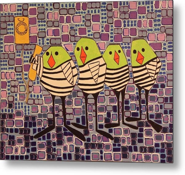 4 Calling Birds Metal Print