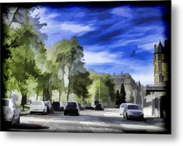 Cars On A Street In Edinburgh Metal Print