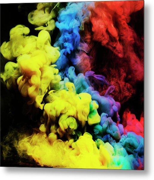 Coloured Smoke Mixing In Dark Room Metal Print by Henrik Sorensen