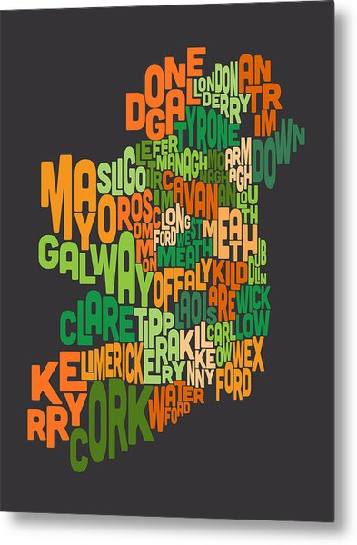 Ireland Eire County Text Map Metal Print