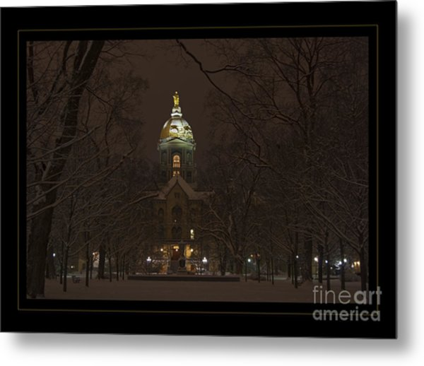 Notre Dame Golden Dome Snow Poster Metal Print