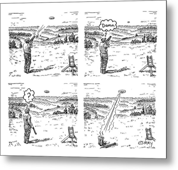 4 Panels.  Man Shoots At A Grout Which Then Turns Metal Print