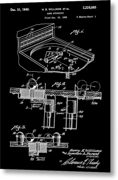 Pinball Machine Patent 1939 - Black Metal Print