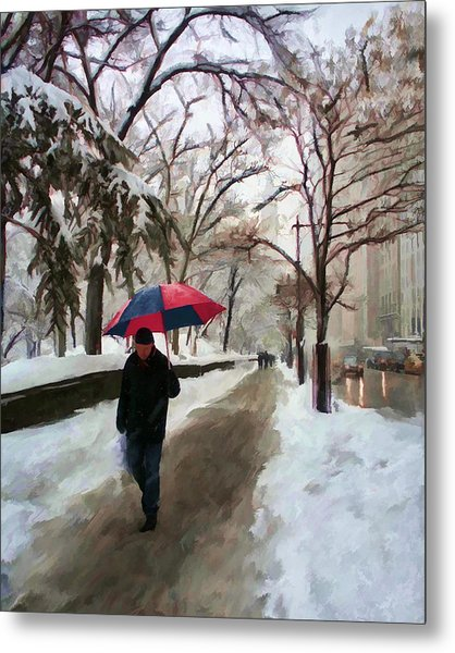 Snowfall In Central Park Metal Print