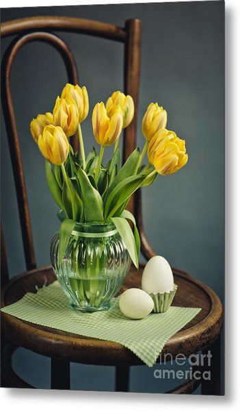 Still Life With Yellow Tulips Metal Print