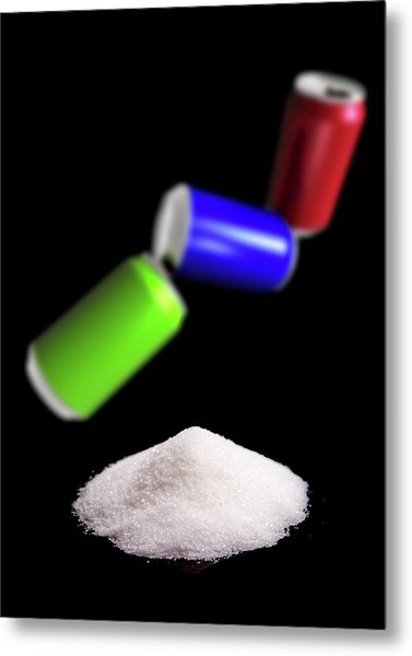 Sugar In Fizzy Drinks Metal Print by Victor Habbick Visions/science Photo Library