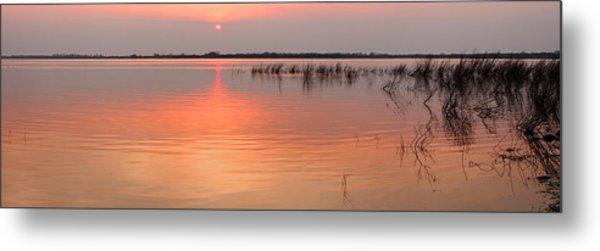 Sunset  River Panorama Metal Print