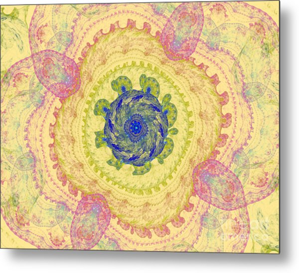 Symmetrical Lines And Lights Figures Metal Print by Odon Czintos
