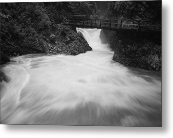 The Soteska Vintgar Gorge In Black And White Metal Print