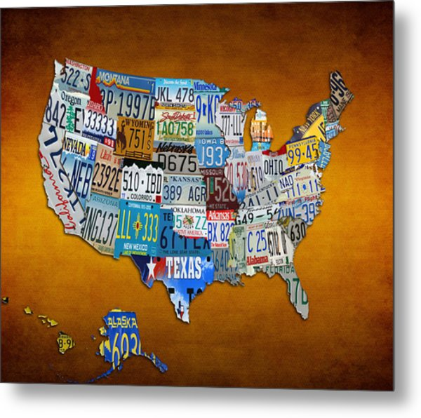 The Usa License Tag Map Metal Print