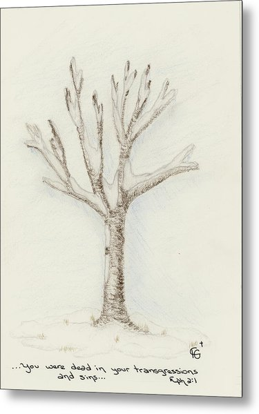 4 Trees-2nd Tree Winter Metal Print