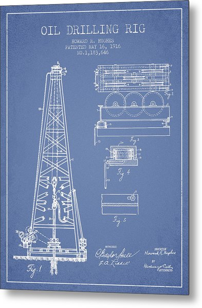 Vintage Oil Drilling Rig Patent From 1916 Metal Print