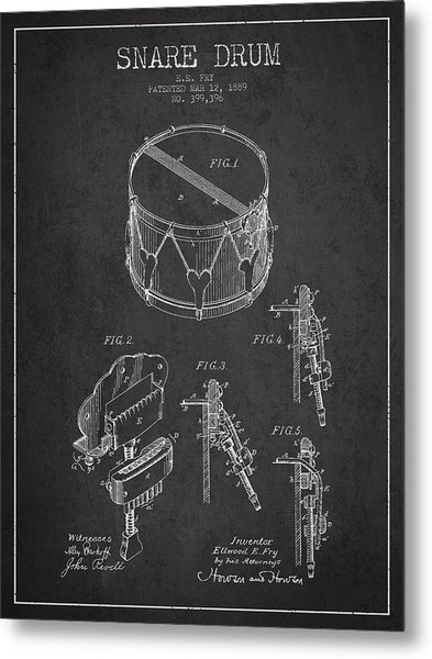 Vintage Snare Drum Patent Drawing From 1889 - Dark Metal Print