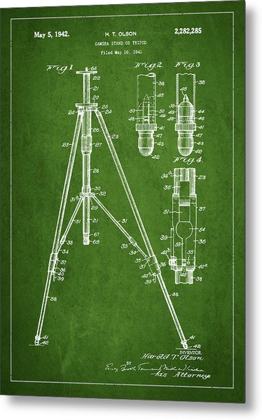 Vintage Tripod Patent Drawing From 1941 Metal Print
