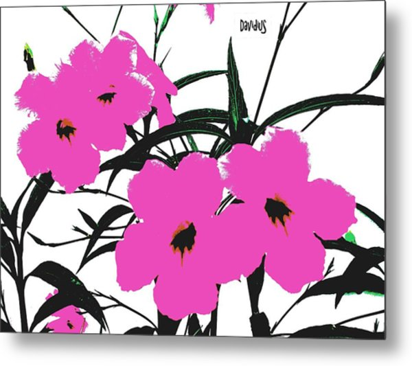 Metal Print featuring the photograph 4 Violet Jack Flowers by David Clark