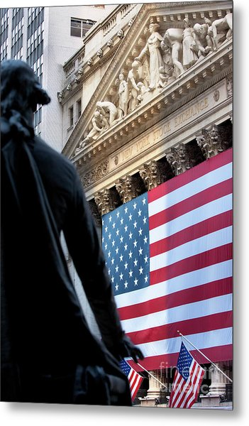 Metal Print featuring the photograph Wall Street Flag by Brian Jannsen