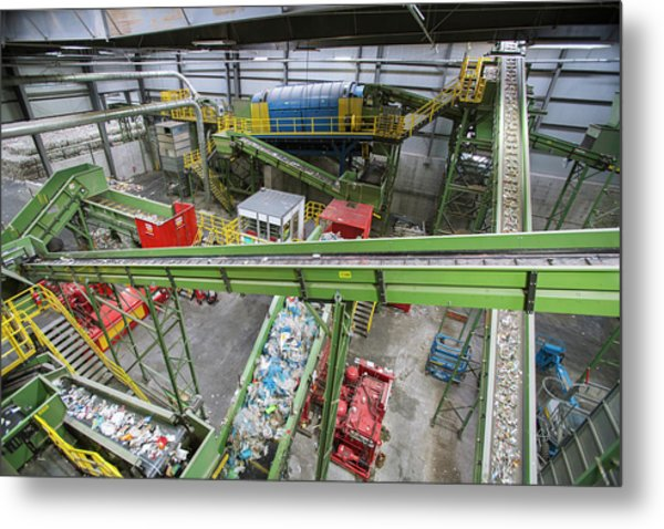 Waste Sorting At A Recycling Centre Metal Print