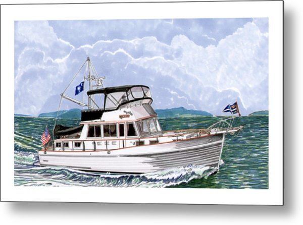 42 Foot Grand Banks Motoryacht Metal Print
