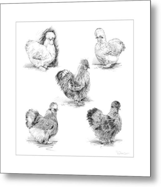 48. Silkies Pencil Drawing Metal Print