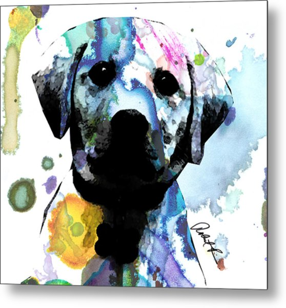 48x44 Labrador Puppy Dog Art- Huge Signed Art Abstract Paintings Modern Www.splashyartist.com Metal Print