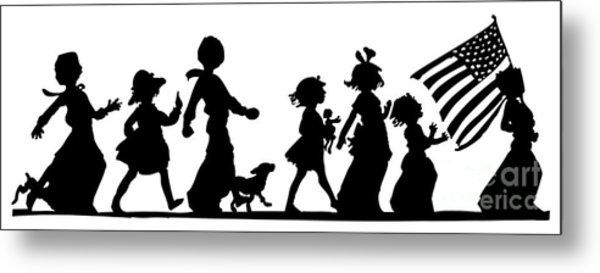 Metal Print featuring the digital art 4th Of July Childrens Parade Panorama by Rose Santuci-Sofranko