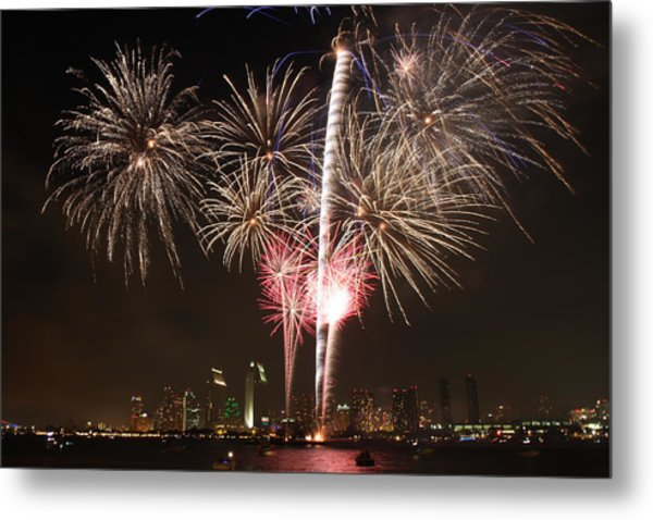4th Of July Fireworks Over Downtown San Diego Metal Print