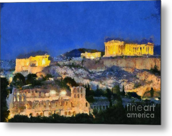 Acropolis Of Athens During Dusk Time Metal Print