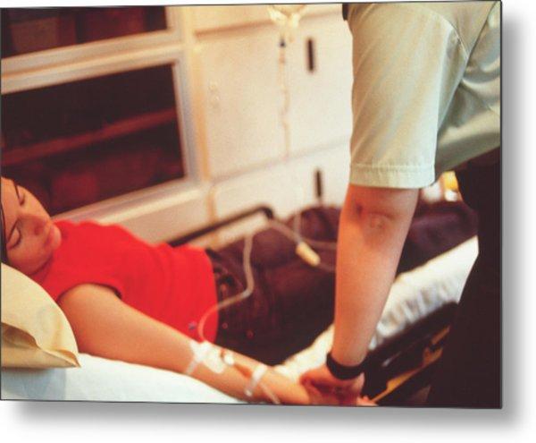 Ambulance Treatment Metal Print by Annabella Bluesky/science Photo Library