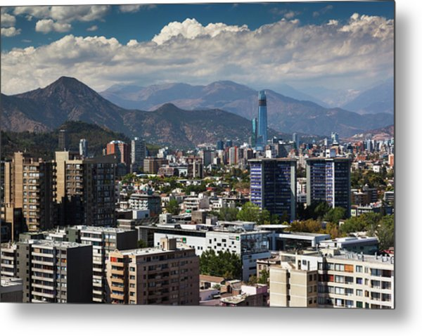 Chile, Santiago, City View Metal Print by Walter Bibikow