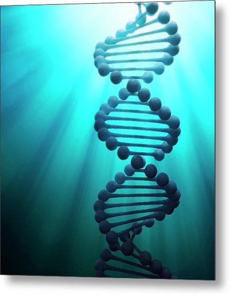 Dna Molecule, Artwork Metal Print by Andrzej Wojcicki