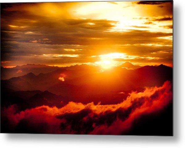 Golden Sunset Himalayas Mountain Nepal Metal Print