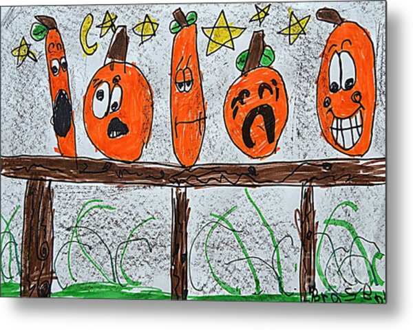 5 Little Pumpkins Metal Print