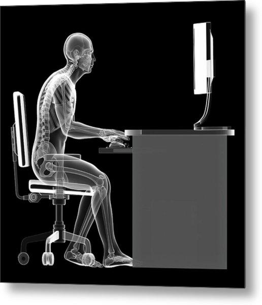 Person Sitting With Incorrect Posture Metal Print by Sebastian Kaulitzki