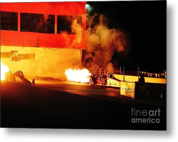 Skyview Drags Night Of Fire 2007 Metal Print by Vicki Hopper