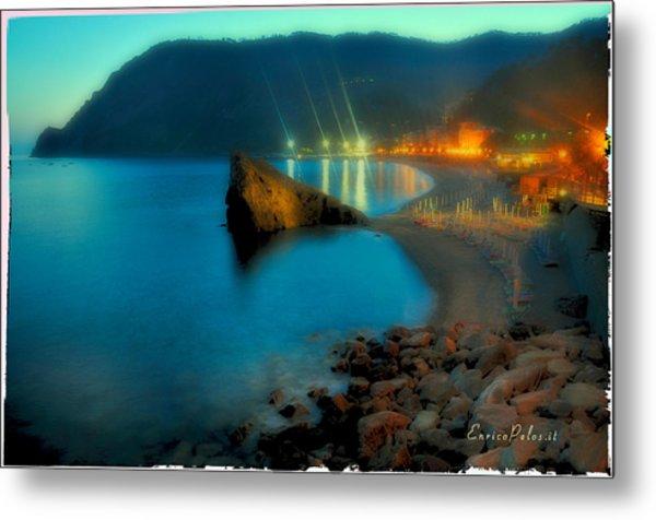 Metal Print featuring the mixed media 5 Terre Monterosso Beach In Passeggiate A Levante by Enrico Pelos