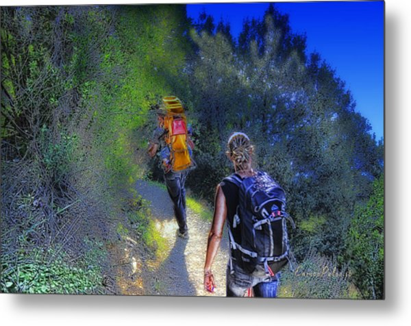 Metal Print featuring the mixed media 5 Terre Monterosso Trekking In Passeggiate A Levante by Enrico Pelos